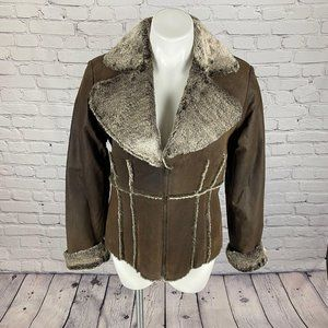 Moda Faux Fur & Genuine Leather Jacket M
